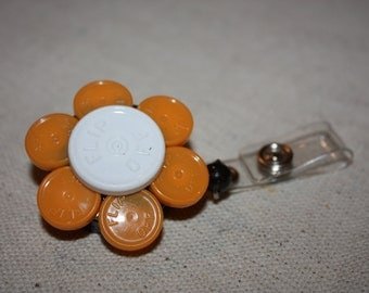 Upcycled/Recycled Retractable Flower ID Badge/ Name Tag Holder Made From Flip Off Caps From Medication Vials-Office, Hospital, RN