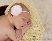 White Ruffled Flower with Pearl Headband  -  Newborn Baby, Toddler, Adult - Photo Prop, Baby Shower Gift, Baptism, Christening, Communion