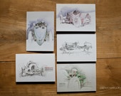 Motoring Art - Set of 5 Blank Cards - Vintage Racers