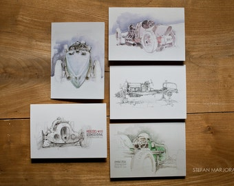 Motoring Art - Set of 5 Blank Cards - Vintage Racers
