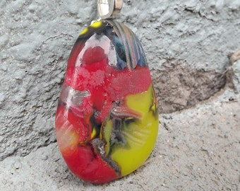 Funky Fused Glass Pendant, Yellow Red Glass Necklace, Large Fused Glass Pendant, Patch Work Glass Jewelry, Hippie Pendant, Free Spirit
