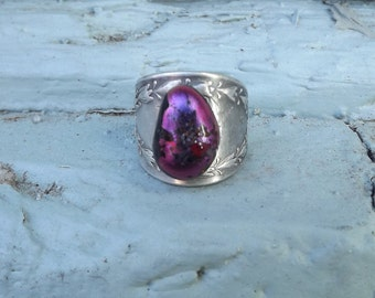 Silverware Fused Glass Pinky Ring, Purple Glass Ornate Band, Above the Knuckle Ring