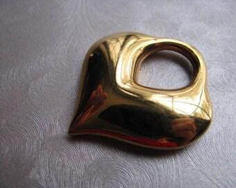 Goldtone Scarf Slide - Made in USA - Heart Scarf Holder