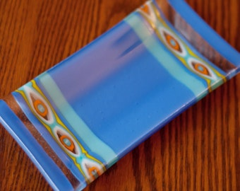 Teal/Blue Hamsa-Patterned Fused Glass Dish/Plate