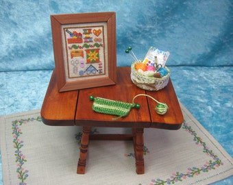 Cross stitch picture with sewing motives, sewing accesories dollhouse, handmade miniature - Dollhouses Miniature scale 1:12