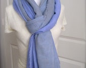 Blue  Cotton shawl  Scarf - hand dyed ombre cotton