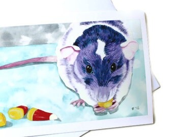 Purple Rat Card, Blank Greeting Card With Envelope, Candy Corn, Watercolor Rat Card, Thank You Notecard. Halloween Card, Rat Note Card