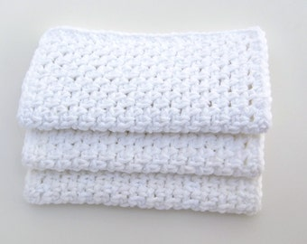 SPECIAL LISTING for AMY - quantity 4 sets- Bulk shipping- Dishcloths - Washcloths - White- Crochet- Cotton- Set of 3-