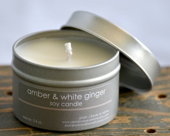 SALE - Amber & White Ginger Soy Candle Tin 4 oz. - musky vanilla coconut ginger scented soy candle