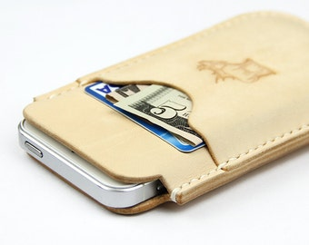 100% Hand-stitched iPhone 5 Vegetable Tanned Leather Case Cards Holder