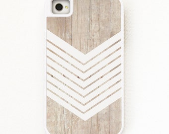 iPhone 4 Case. iPhone 4S Case. Wood Geometric White Minimalist- Silicone Lined