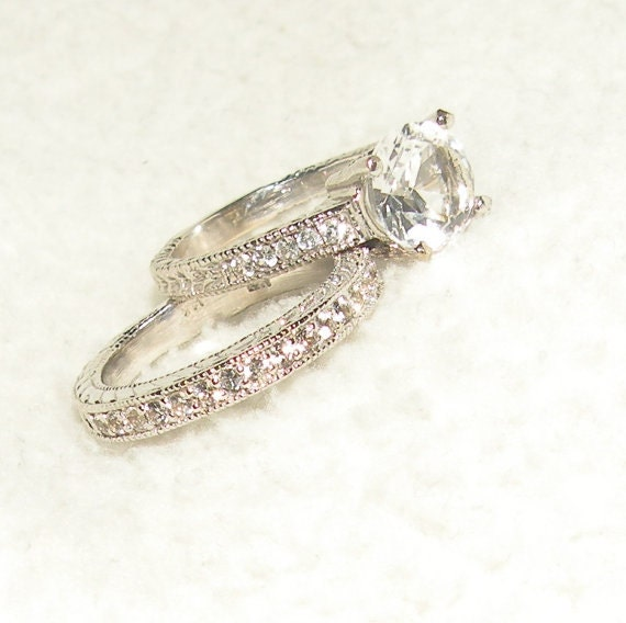 Items similar to Antique Style Engagement Wedding Ring on Etsy