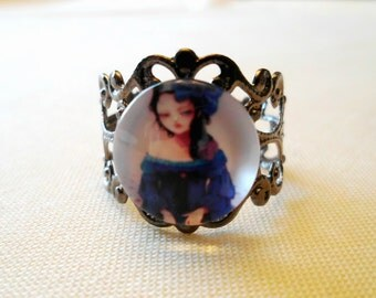 Blue Girl Adjustable Gunmetal Ring
