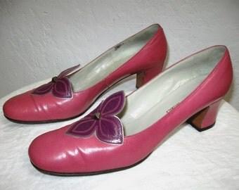 1960's Dark Pink and Purple Heels - Size 8 AA