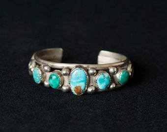 Vintage Navajo Sterling Silver and Turquoise Cuff Bracelet