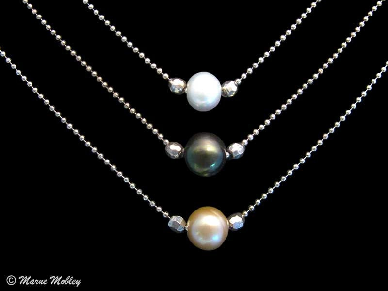 single pearl necklace handmade with white pearl black