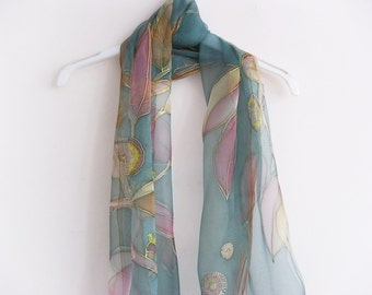 Green chiffon scarf, handpainted scarf, botanical art, women scarves, silk accessories, silk gift, for her - made TO ORDER