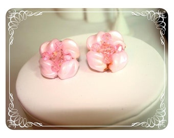 Baroque Pink Pearlescent Earrings - Spring & Summer Pastel   E161a-040812000