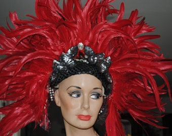 Mardi Gras Showgirl  Burlesque Hat/ Headdress