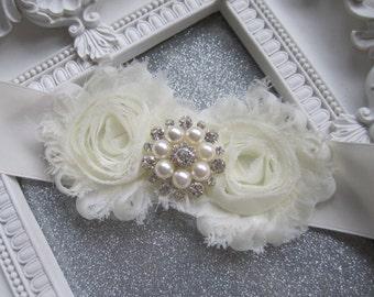 Wedding Sash, Bridal Sash, Rhinestone Sash, Ivory Satin Sash, Wedding Accessories, Shabby Flower Sash, Belt, Vintage, Pearls, Flower girl