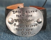Dogs Believe - upcycled leather cuff-hand stamped silverware jewelry