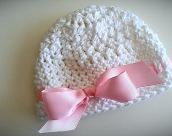 White Crochet Baby Hat,  Baby Girl Hat with pink Bow, Baptism