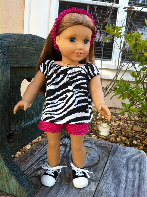 American Girl doll clothes sassy zebra peasant style shirt and hot pink leopard shorts with matching headband