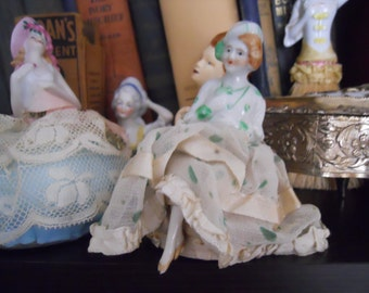 Antique Lady Belle Pink and Green Porcelain Doll Pin Cushion with Legs