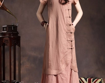 Maxi Linen Dress in Pink / Layered Bridesmaid Dress / Cocktail Dress/Asymmetric Maxi Shirt, XL,XXL, Custom Plus Size Clothing A8025
