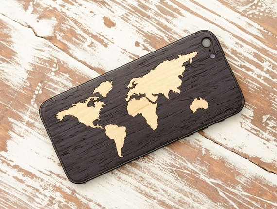 Ebony World Map Inlay iPhone 5 Real Wood Skin