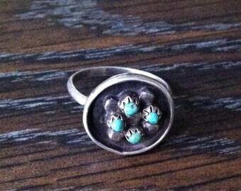 Circular Zuni Vintage Turquoise Ring Size 7.25
