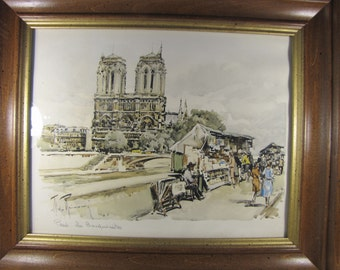 Vintage Water Color Print of Notre Dame Catherdral in Paris