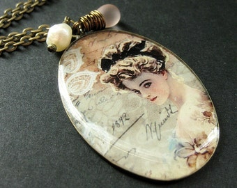 Beautiful Victorian Lady Necklace. Vintage Woman Pendant with Pink Teardrop and Pearl. Handmade Jewelry.