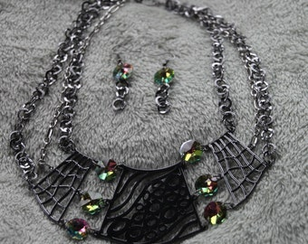Heavy Metal and crystals with multi chain Necklace and Earring set OOAK