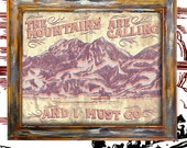 Mountains are calling print antique vintage rustic americana art print wallart decor graphic type sign poster 10x13
