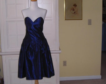 60's 70's iridescent navy taffeta strapless gown, prom gown, dance dress, with jacket, size 11 -12