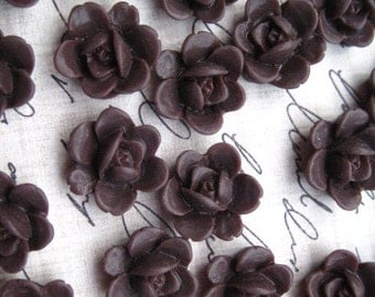 Resin Flower, Chocolate Brown Flower Cabochon, Resin Cabochon Flat Back 13mm 10 pcs