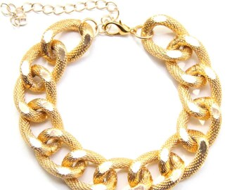 On sale! Gold chunky chain Bracelet - 24k gold plated