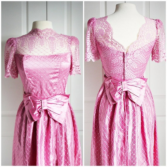 Vintage 80s pink satin party dress/ floral & by Vintagiality