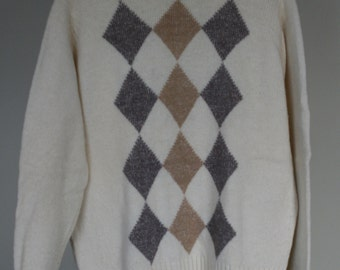 vintage men's crew neck argyle sweater size 44