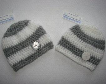 Twins Crochet baby boy set of 2 hat beanie silver light grey white handmaded 0-3 months shower gift photo prop