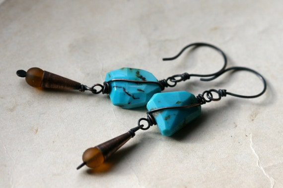 sale-clearance-Magamalabares earrings- Metalwork,Turquoise,Glass, Boho,Bohemian,Honey,Cones,Rustic Jewelry