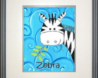 "Safari Zebra Digital Print Download - 8"" x 10"""