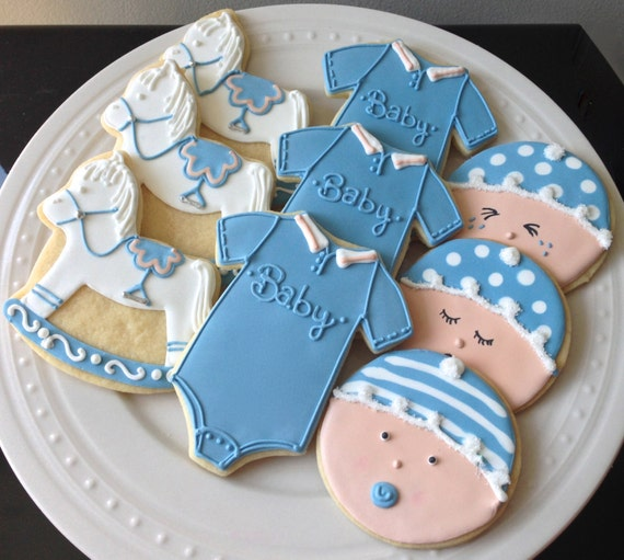 Baby Boy Blue Striped Onesie Cookies for Baby Shower, New Baby Gift, Birthday nicely detailed onesie cookie Find this Pin and more on Kids by Dolce Dreams. Baby Boy Blue Striped Onesie Cookies, but I would do blue and pink for my gender reveal.