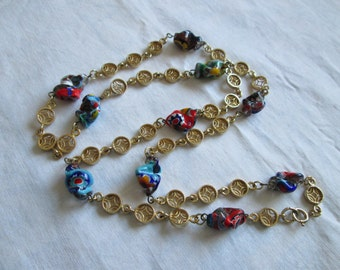 Vintage Colorful Canes Italian Millefiori Nugget Glass Bead Gold Tone Link Necklace 32""
