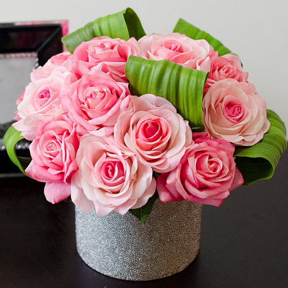 Real touch pink rose arrangement in round metallic vase for