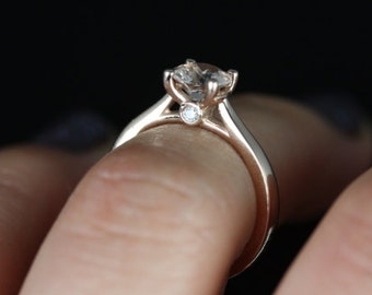 Rosados Box Heather 6mm 14kt Rose Gold Round Morganite and Diamonds Tulip Cathedral Solitaire Engagement Ring