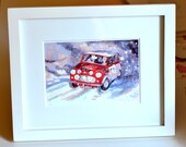 Mini Cooper Print Framed, Race Car Art, Classic Car Art, Automobile Racing, Vintage Car Print, Monte Carlo Rally