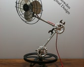 Oscillating Articulating Arm Fan - Vintage Steampunk - Industrial Oscillating Fan Table Lamp Style