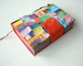 COLORFUL Handmade fabric journal,diary, travel journal, cororful paper, 320 pages